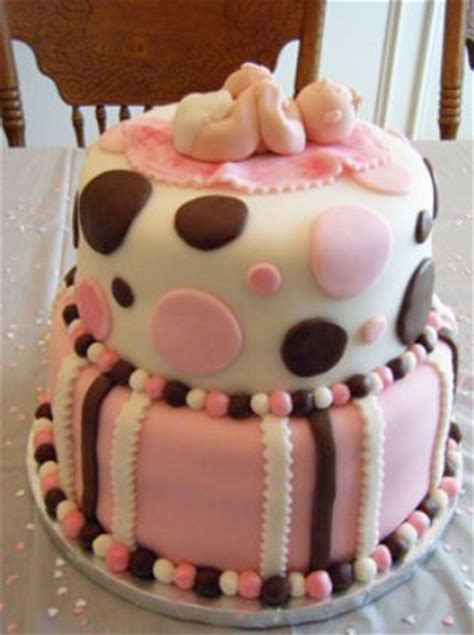 Baby Shower Cake With Baby On Top by 2 Tier Baby Shower Cake In Pink And White With Baby On Top