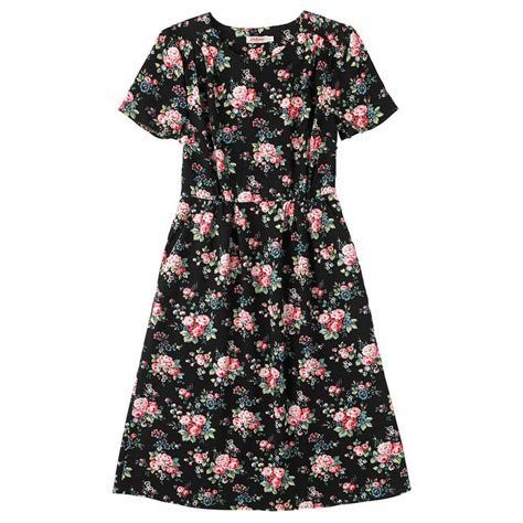 B1 Chilia Dres Dress Wanita spray flowers pleated dress spray flowers cathkidston artwork flower