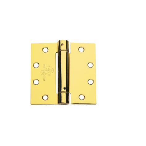 global door controls 4 0 in x 4 0 in bright brass steel