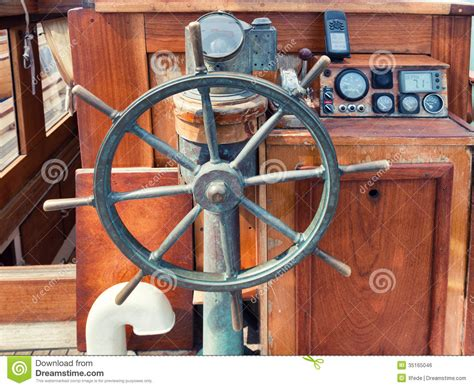boat steering wheel and helm helm of wooden boat royalty free stock image image 35165046