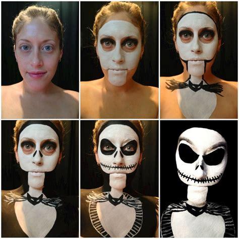 womans clever jack skellington halloween makeup geekologie