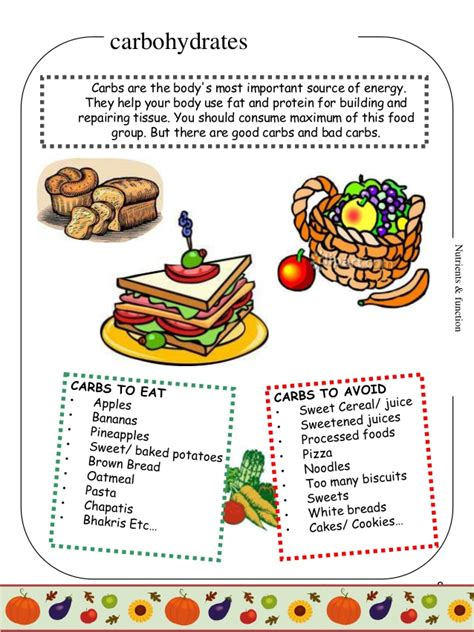 carbohydrates for grade 8 food nutrition project for 4th graders