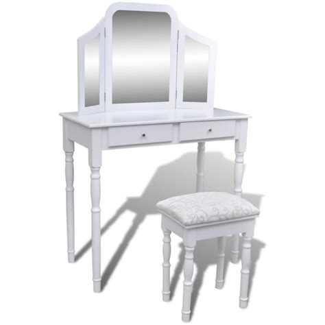 folding dressing table mirror dressing table w folding mirror stool in white buy