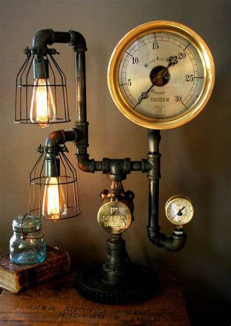 Machine age steampunk steam gauge lamp 44
