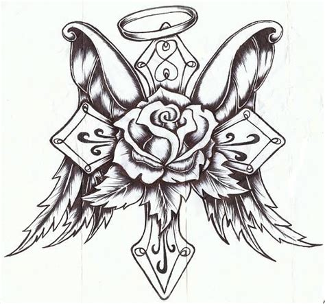 tattoos of roses and crosses sketches of crosses roses and crosses drawings pictures