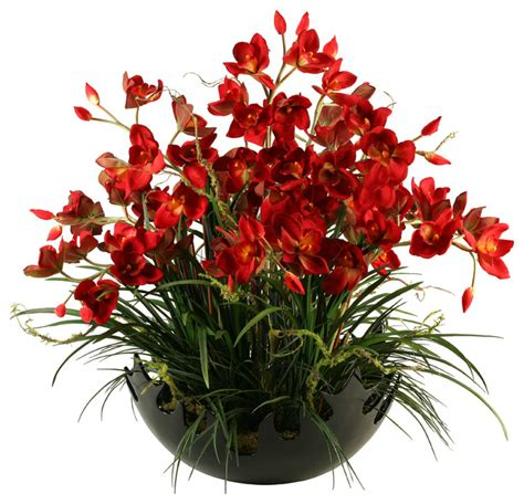soft yellow red cymbidium silk orchids floral arrangment artificial red cymbidium orchids with areca grass in large