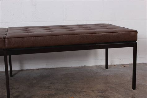 museum bench bronze and leather museum bench by florence knoll at 1stdibs