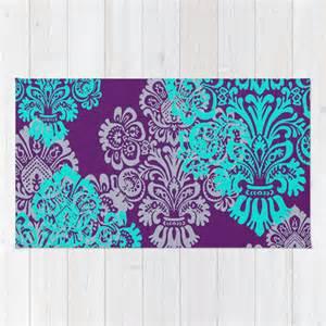 floor rug teal decor room decor damask tone by