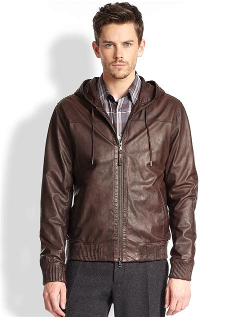 hooded leather jacket mens vince hooded leather jacket in brown for brown lyst