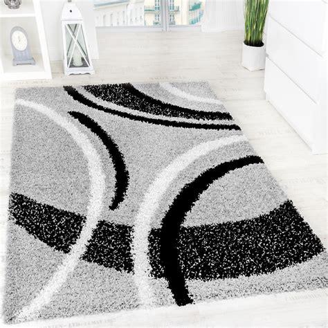 teppich grau schwarz shaggy teppich hochflor langflor gemustert in grau schwarz