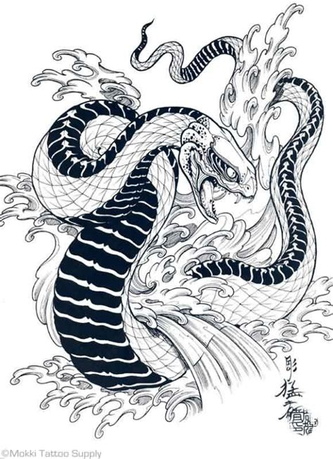 waves and snake tattoo design photo 4 real photo