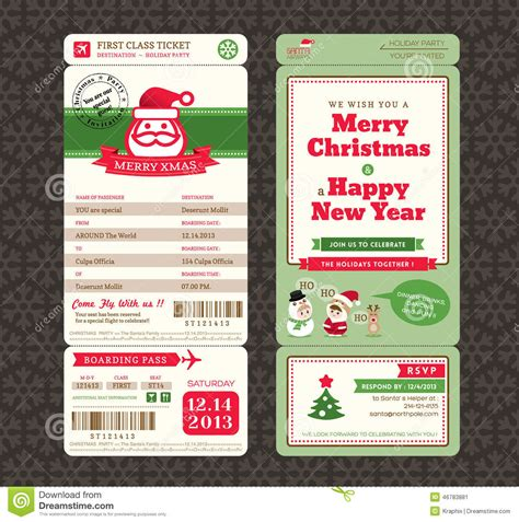 christmas card design boarding pass ticket template stock