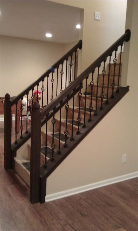 stripping paint from wood banisters fascinating staircase idea with black wrought iron