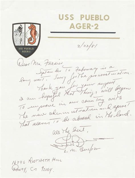 letter of administration lloyd m bucher autograph letter signed 02 23 1981 1378