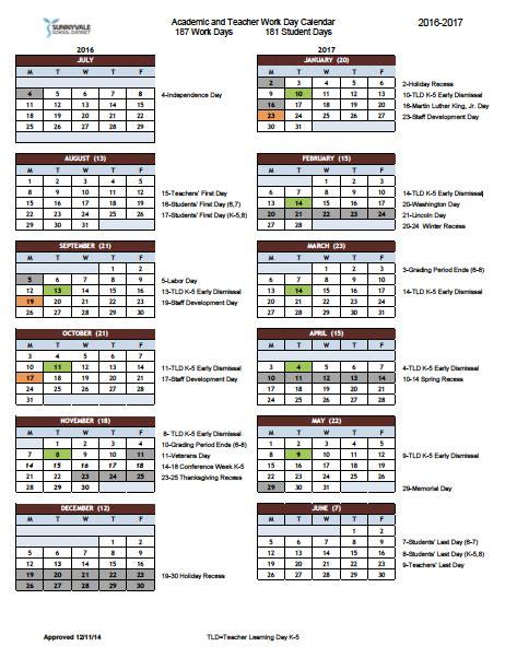 Cupertino School Calendar Cupertino School District Calendar 2017 My