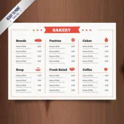 free bakery menu templates rectangle bakery menu template vector free