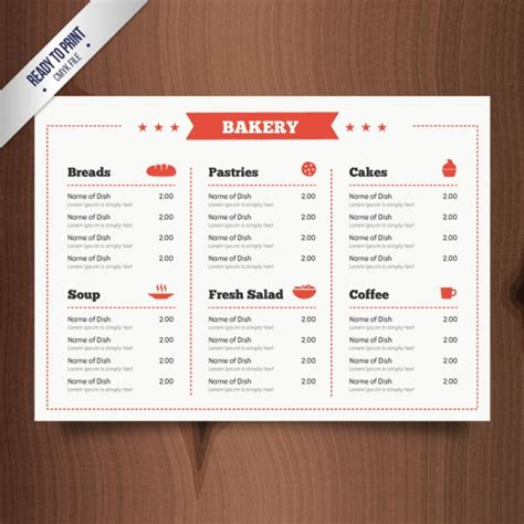 rectangle bakery menu template vector free download