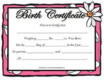 free printable blank baby birth certificates templates