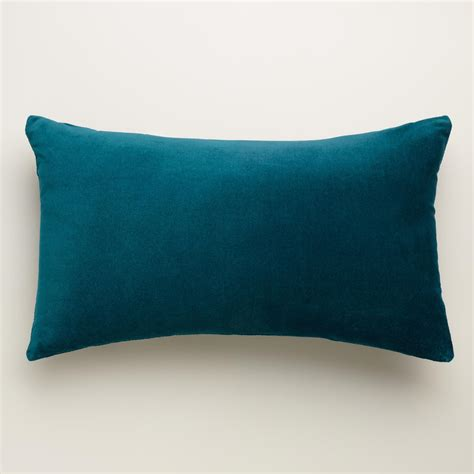 teal couch pillows teal velvet lumbar pillow world market