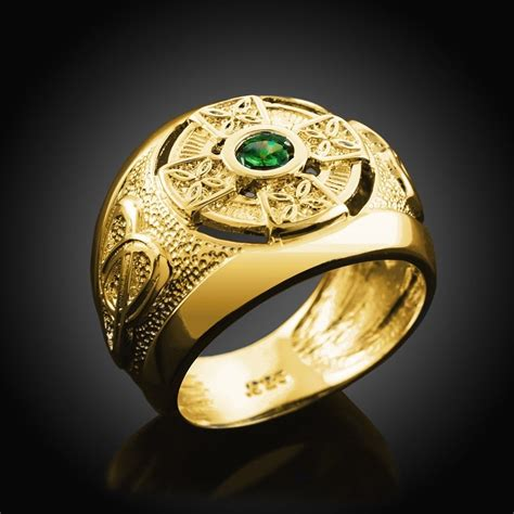 mens gold celtic cross birthstone ring ebay