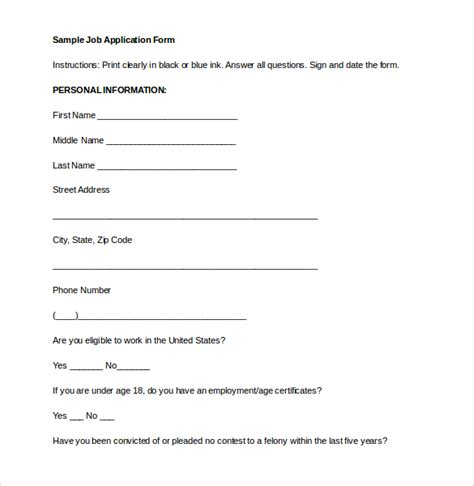 employment application form template doc 15 employment application templates free sle