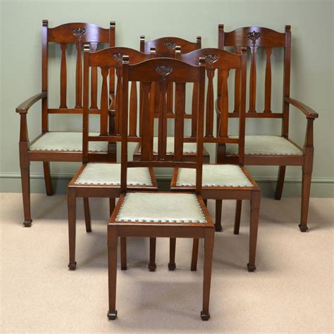 Arts And Crafts Dining Chairs Spectacular Quality Set Of Six Walnut Arts And Crafts Dining Chairs Antiques World