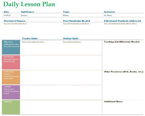 teaching planner template daily lesson planner template formal word templates