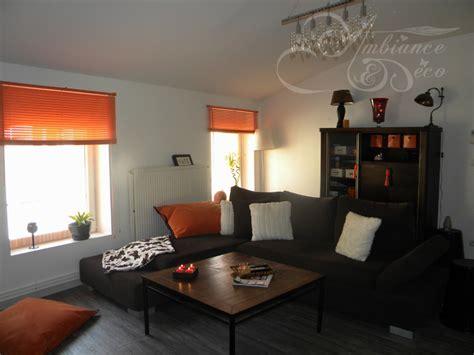 salon noir orange moderne photo 24 murpro deco salon moderne marron