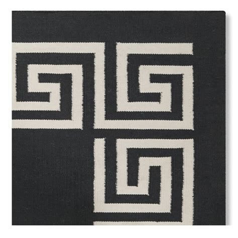 black rug with white border key border indoor outdoor rug black williams sonoma