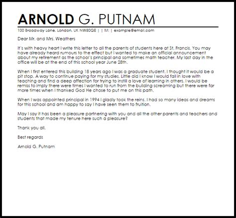 Resignation Letter To Parents