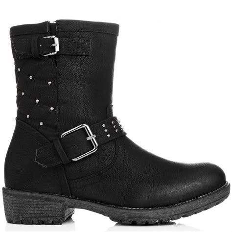 buy jaiden flat biker ankle boots black leather style