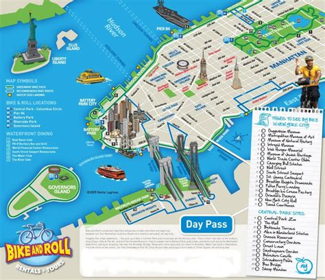 map of nyc with landmarks new york city bike and roll map new york city vacations