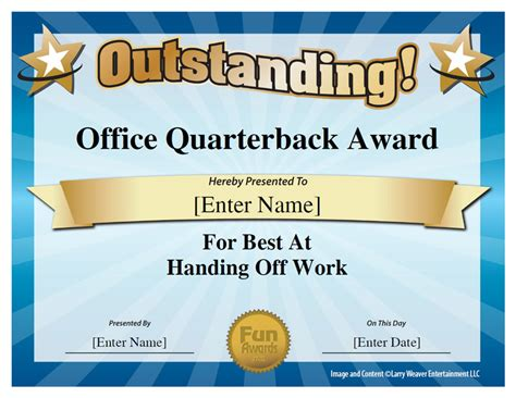 office quarterback award office pinterest