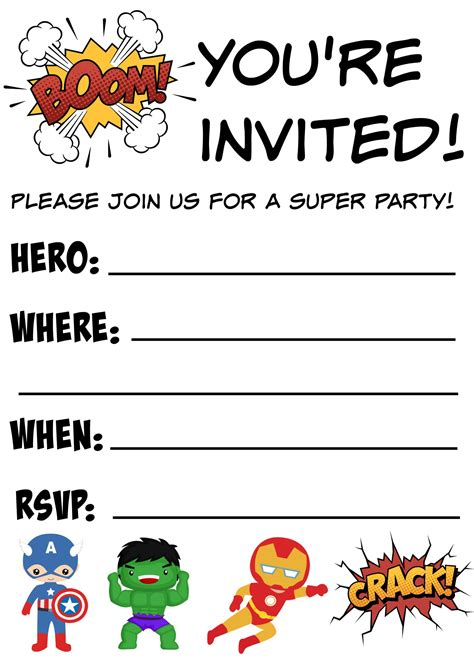 free printable superhero birthday invitations not quite