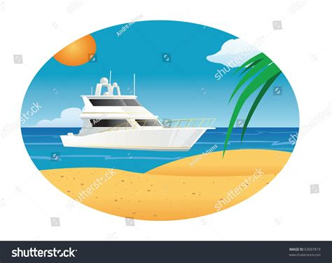 cartoon boat at sea cartoon vector illustration yacht sea stock vector