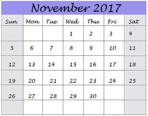 november 2017 calendar fillable calendar template letter