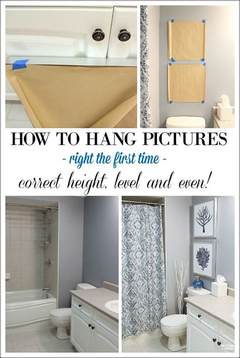 what height to hang pictures height measurements and how to hang pictures in a bathroom