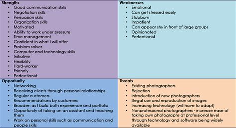 Skill Example For Resume by 201mc Swot Analysis And Cv Holly Constantine Photography