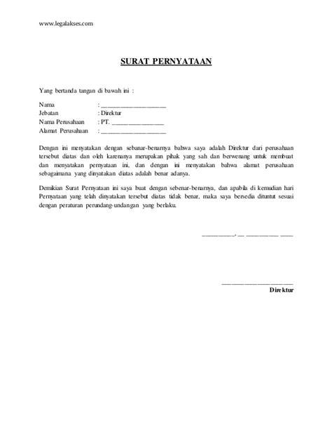 surat pernyataan direktur tentang alamat perusahaan