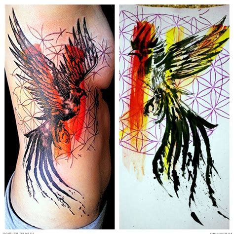 phoenix tattoo ink love the brush strokes polka trash tattoos pinterest