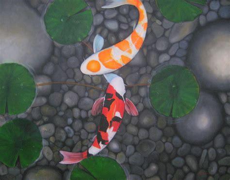 koi fish in pond painting by sabaiporn wonganu