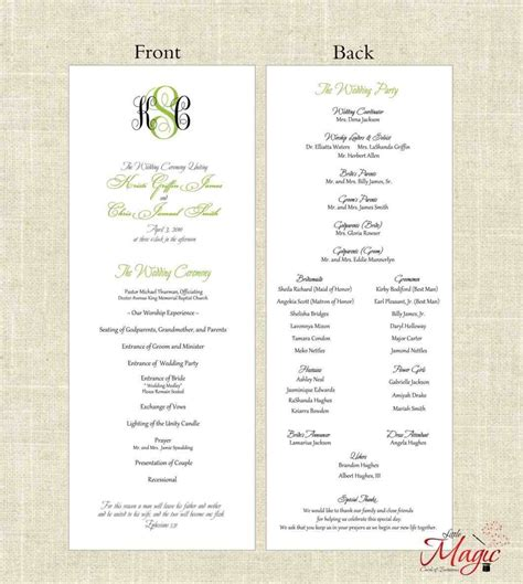 template program make nomenclature cards free downloadable wedding program template that can be