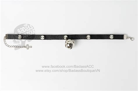 badass collars bad bell stainless steel spikes black faux leather collar choker