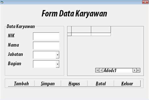 cara membuat database karyawan di xp contoh latihan soal vb1 quot data karyawan quot zona aeb
