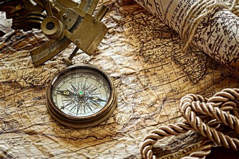 sextant compass vintage still life with compass sextant and old map