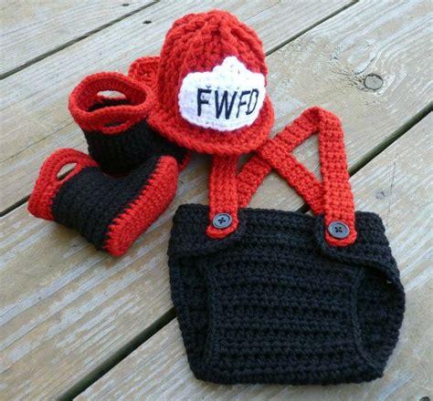 knitted fireman hat pattern custom crochet firefighter set with booties
