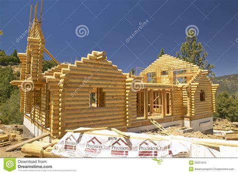 Csites With Log Cabins by Construction Site Of Log Cabin Editorial Image Image