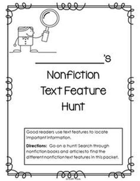 html non printable text nonfiction text features worksheet first grade free