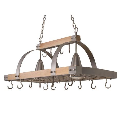 Kitchen Pot Rack With Lights Designs 2 Light Brushed Nickel Accents Kitchen Wood Pot Rack With Downlights Pr1001 Wod