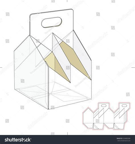 4 pack bottle carrier template four bottle carrier box with die cut template stock vector